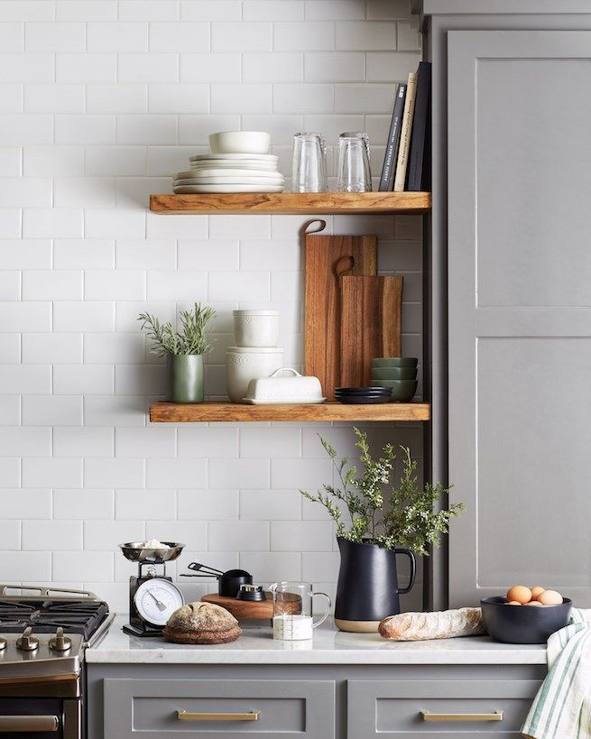 small open shelves in the kitchen