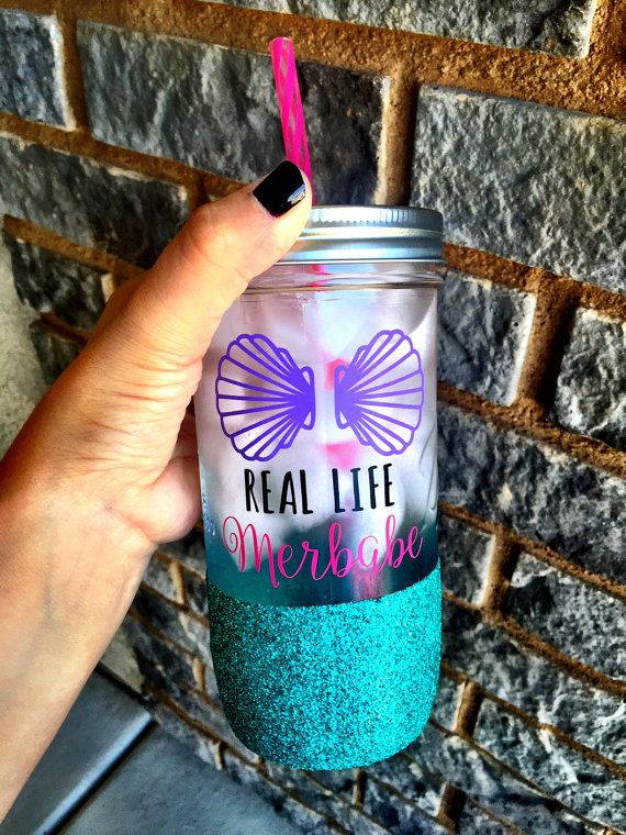 Real Life Merbabe over here! Customize all colors and add a name to the back if youd like ♥   Overview ♥ 24 oz Mason Jar with matching reusable acrylic straw ♥ Also available as a 32 oz water bottle, 16 oz Latte Mug or 16oz To Go Coffee Tumbler ♥ Available with or without glitter ♥ Design is applied with high quality, permanent vinyl rated for outdoor use ♥ Glitter is sealed to prevent shedding  *Please only handwash with mild dishsoap and no scrubbing. Do not soak in water for any extended…