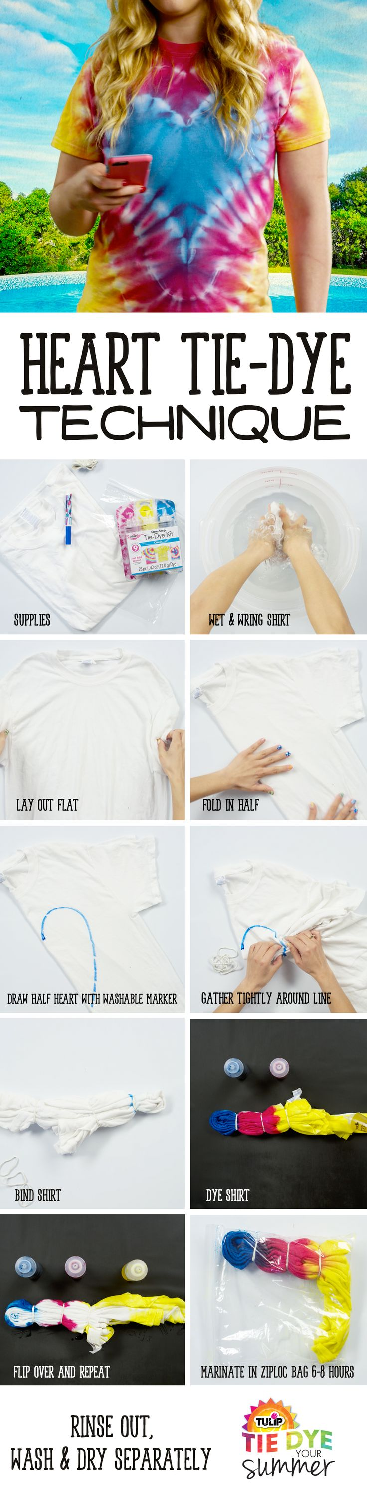 I love this technique for tie dying a heart in the middle of the shirt, can't wait to try it!
