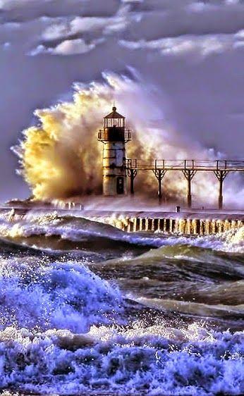 #Lighthouse pier in a storm    http://dennisharper.lnf.com/