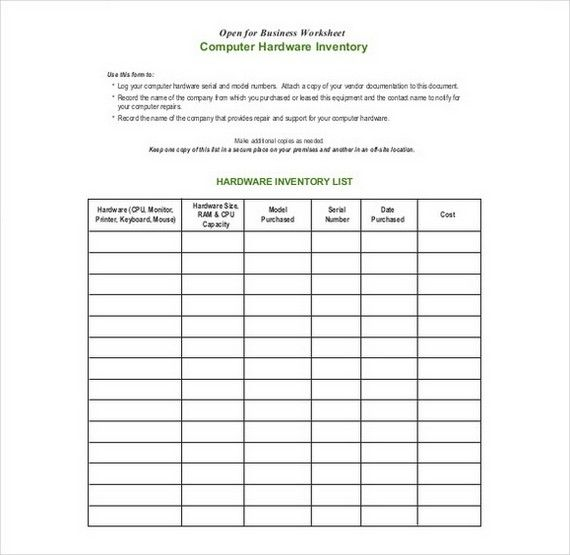 Sample Inventory Form Template