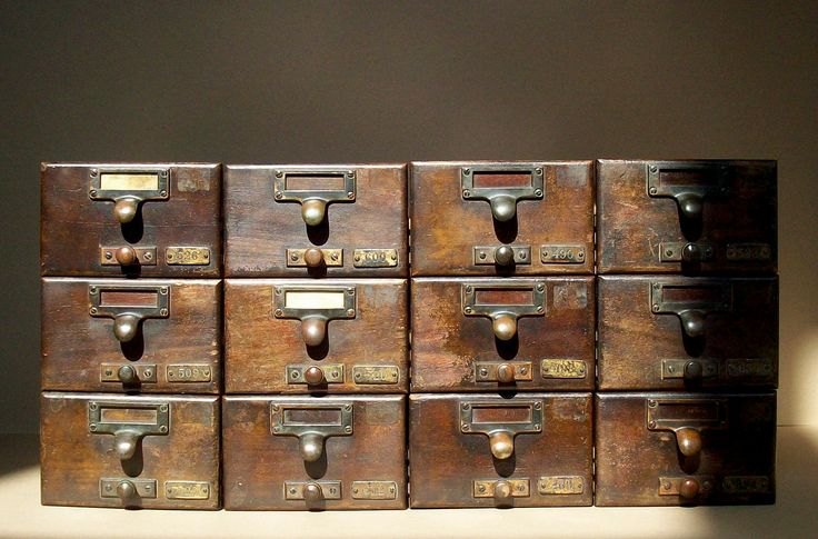 Vintage Library Card Catalogue Drawers with Label Hardware / Wood / Distressed