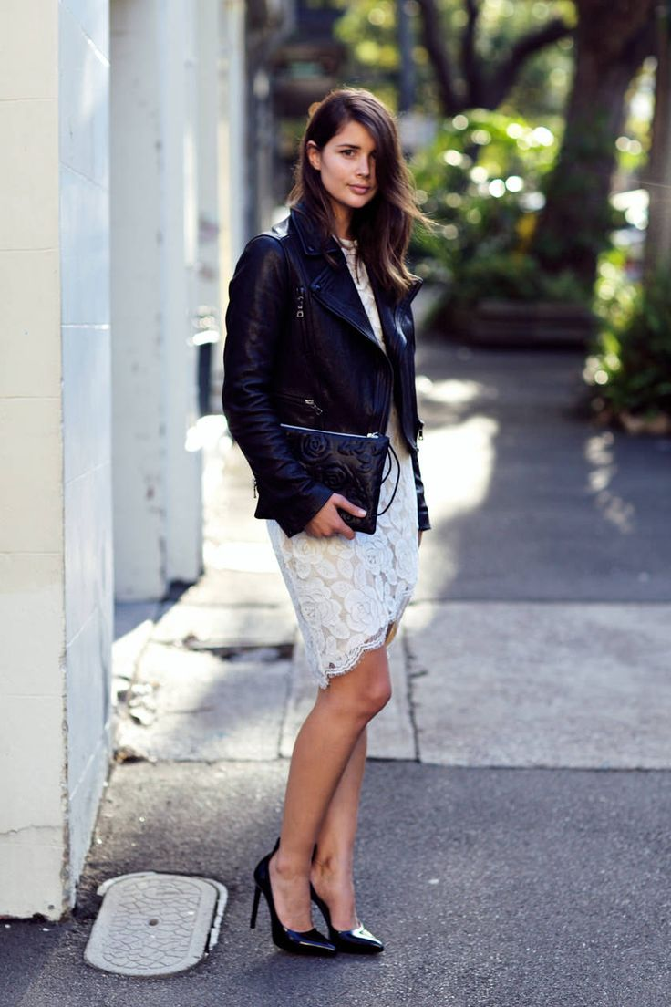 white lace dress, black leather jacket. > Lover lace