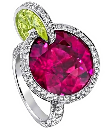 """""""Sex on the Beach"""" Cocktail Ring. Pink Tourmaline and Peridot by Piaget. Found here: http://balharbourshops.com/fashion/limited-edition/item/481-piaget 