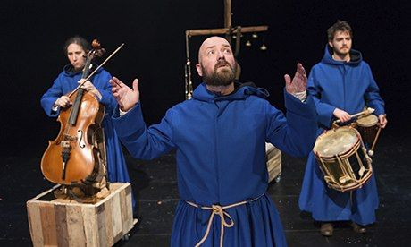 January 2014: Gary Lagden from Tangere Arts plays the slippery Pardoner, with musicians Hannah Marshall and Christopher Preece in the background. Photograph: Manuel Harlan