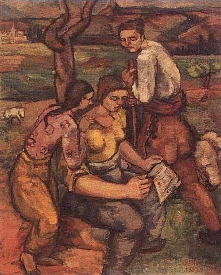 Cemal Tollu (Turkish, 1899-1968) - Villagers Reading Alphabet, 1933