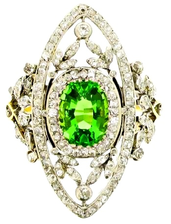 Antique green garnet and diamond dress ring