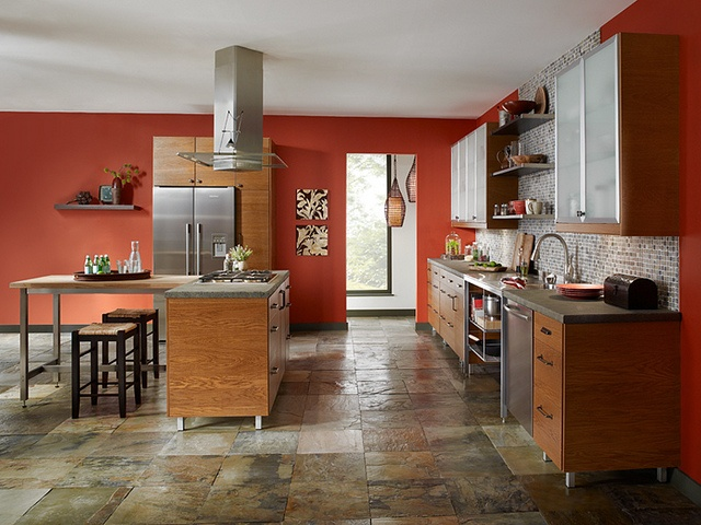 Add Some Warmth To A Modern Kitchen With A Wall Color That Features Hues Of Red