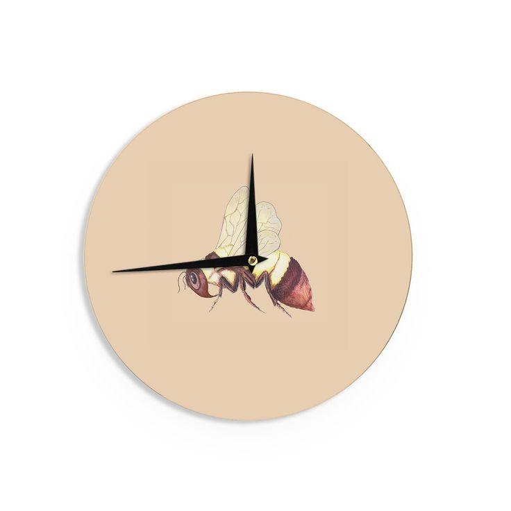 Kess InHouseCatherine Holcombe 'Bee Happy Beige' Wall Clock