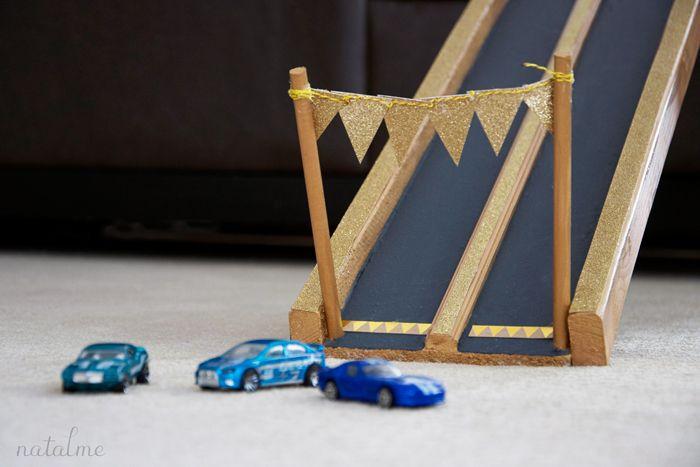 Handmade toy race car track tutorial @ natalme.com #americancrafts