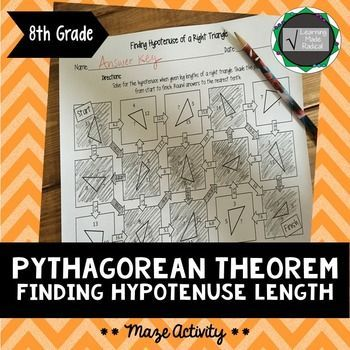 Pythagorean Theorem - Finding Hypotenuse Length Maze Activity  Pythagoras is a great standard that explores an important and life long formula. Practice solving for hypotenuse when given leg lengths through a fun maze activity! **Need practice solving just for an unknown leg length?