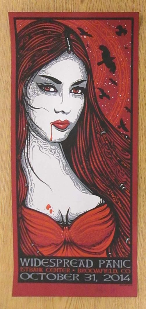 Original silkscreen concert poster for Widespread Panic on Halloween at The First Bank Center in Broomfield, CO in 2014. Signed and numbered 206/350 by the artist Jeff Wood. Light handling marks and crease along right edge.