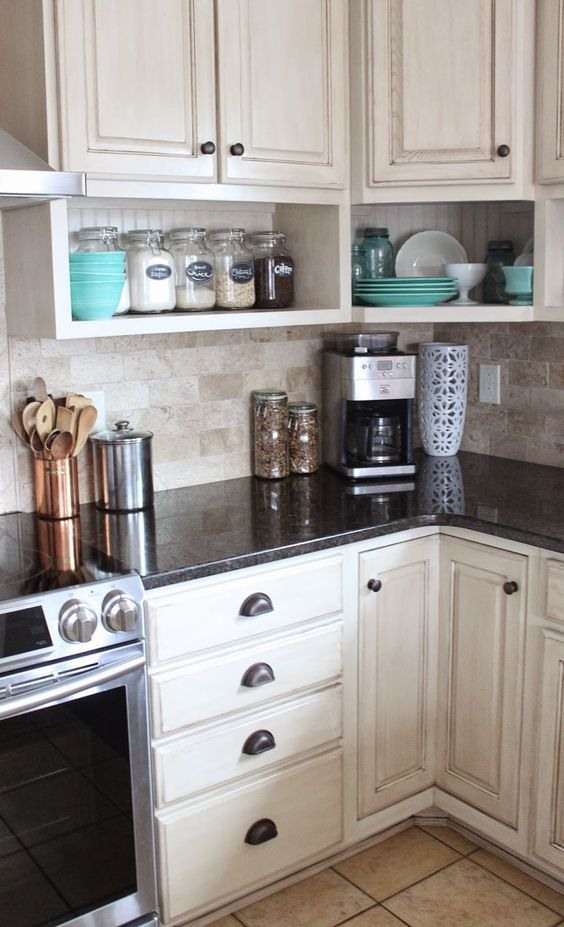 raised wall cabinets with shelves built underneath. Namely Original: Painted Kitchen And Remodel Reveal: