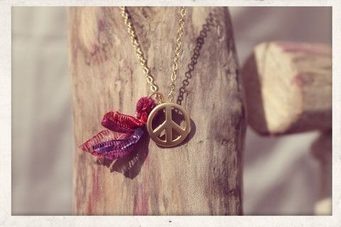 Tassel necklace made with love from 16k gold plated chain, 14k gold plated peace charm and silky satin ribbons!