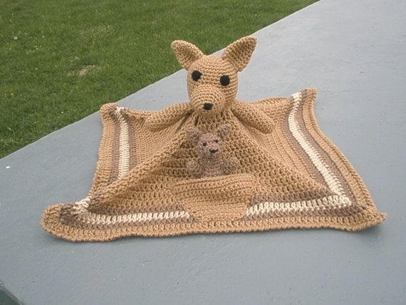 If I ever learn to crochet...  Kangaroo Lovey-Security Blanket with a bonus Baby Joey Pattern - Instant download- Pattern only - PDF