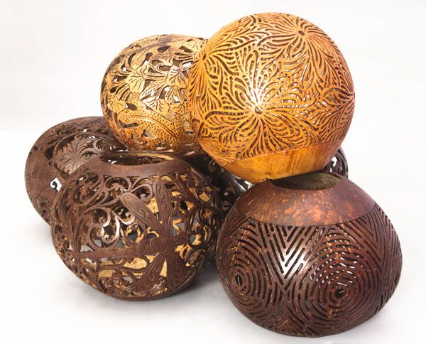Carved Coconut Shells: Balinese craft from Indonesia. Inexpensive addition to the living room, maybe for the mantle