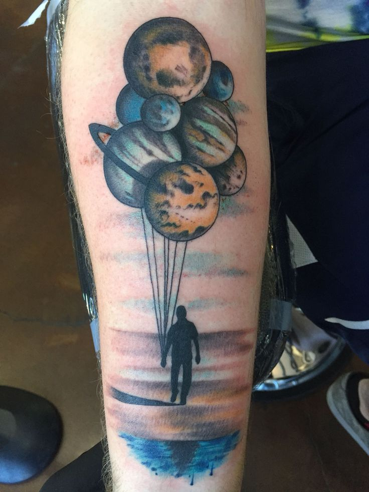 Planet Balloons by Chris Melzo at Black Cat Tattoo in Reno,NV [from Reddit]