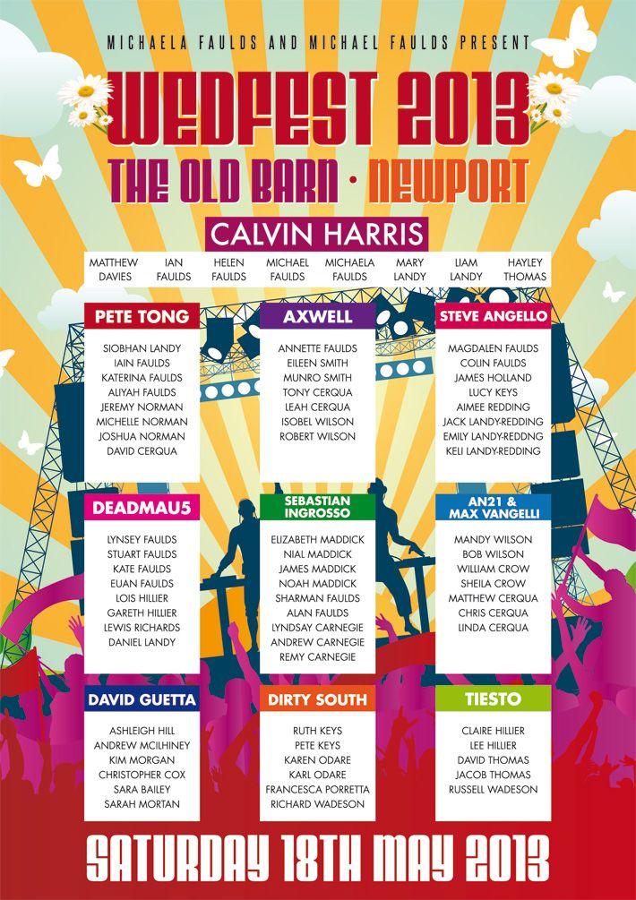 Music Festival Wedding Seating Plan