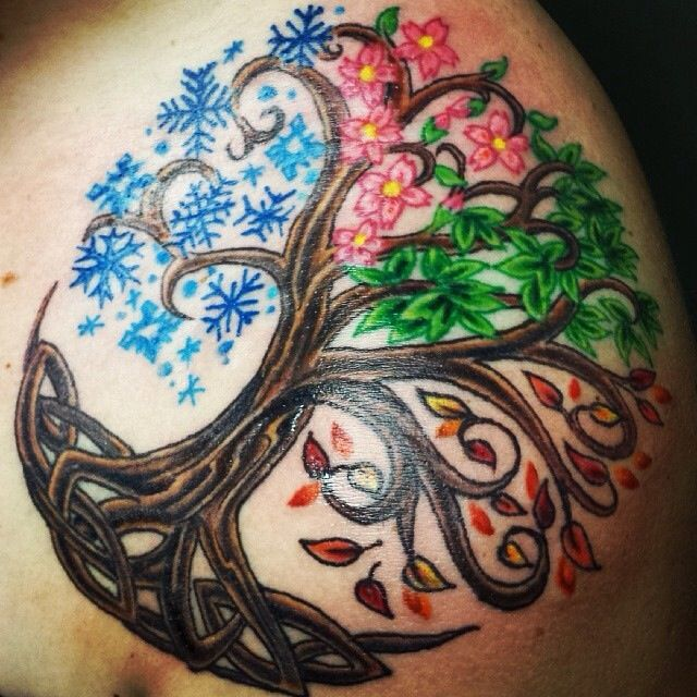 "4 Seasons tree of life tattoo idea, it needs the words ""as above,so below, as within, so without"" added to it and its perfect for me. #celtic #tattoos"
