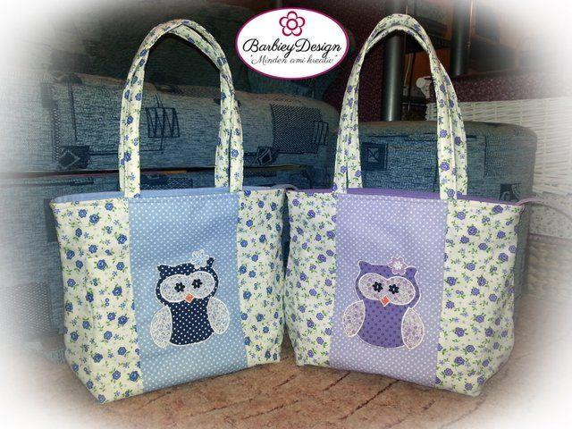 Baglyos táskák Mérete: 25 cm magas, 32 cm széles felül, fül méret: igény szerint 5.800 Ft/db