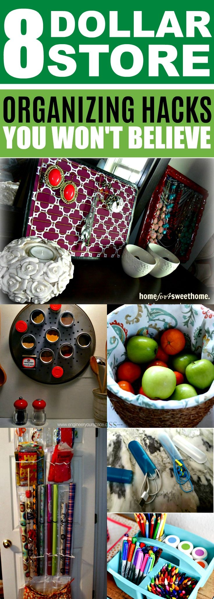 These Dollar Store organizing hacks for my home are SO CREATIVE! Can't wait to try these AMAZING Dollar Store organization ideas & tips to declutter! Now I can organize my home on a budget! Definitely pinning!