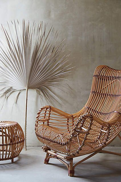 Susila Rattan Chair - anthropologie.com Beautiful wall and white palm