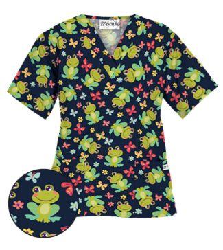 UA Froggy Bliss Navy Scrub Top Style # PC62FYN  #uniformadvantage #uascrubs #adayinscrubs #scrubs #printscrubs #scrubtop #animal #animalscrubs