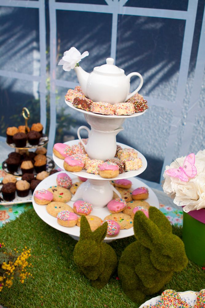 teapot cake stand, synthetic grass bunnies - Garden party table setting (cake table/dessert table/lolly bar) for my daughter Maya's first birthday (styled by Leah Bischoff)