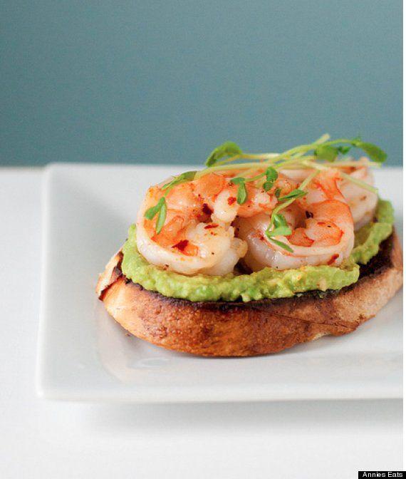 Garlicky Shrimp Avocado Bruschette