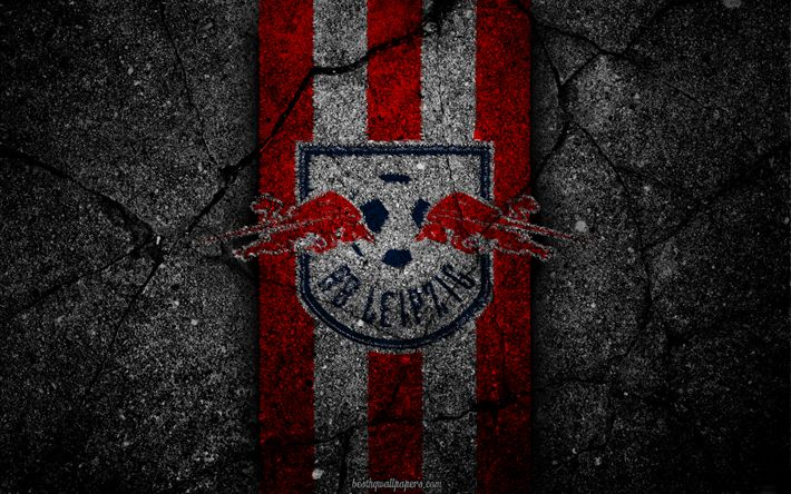 Download wallpapers Leipzig, logo, art, Bundesliga, soccer, football club, RB Leipzig, asphalt texture