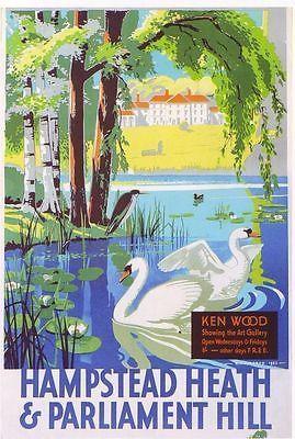 Vintage Tramway Travel Poster - Hampstead Heath & Parliament Hill - London - 1933.