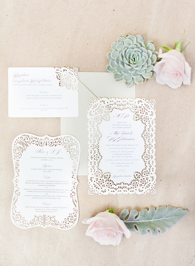 Gorgeous Lace Cutout Invitation Suite - Inspired by This