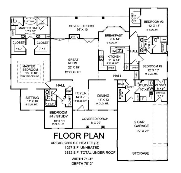 Country southern traditional house plan 59162 for Traditional southern house plans