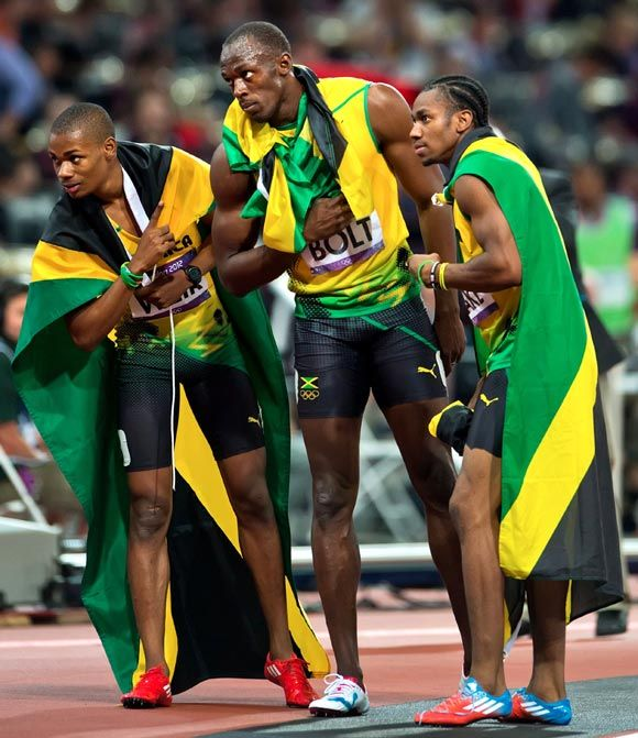 2012 Summer Olympics | gold, silver and bronze in the 200m sprint. Usain Bolt, Yohan Blake and Warren Weir. Jamaica.