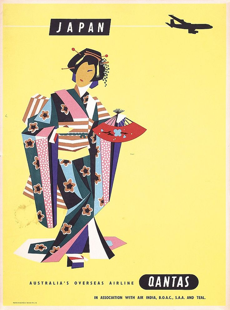 Old Original 1950s QANTAS Airline Travel Poster JAPAN