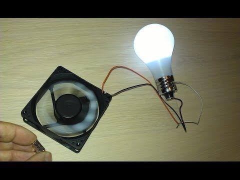 Magent Motor benutzt als Generator für eine LED Lampe