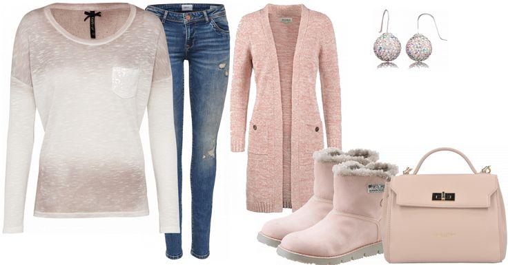 So ein süßes Alltagsoutfit. Die lässige Jeans wird mit einem gemütlichen Shirt kombiniert. Der kuschelige Cardigan in rosa ergänzt diese Kombi farblich. Auch die Stiefel halten warm, da sie gefüttert sind. Schicke Accessoires veredeln den Look. Feminin und zugleich bequem. Genau das Richtige für die Freizeit. So kann frau zum Shoppen oder sich einfach mit Freunden treffen. ;)