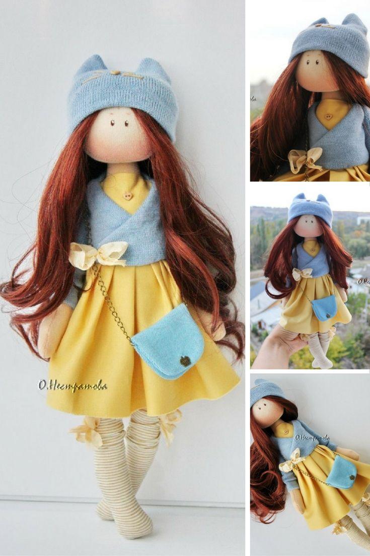 Soft doll Textile doll Rag doll Interior doll Handmade doll Art doll Cloth doll Yellow doll Tilda doll Fabric doll