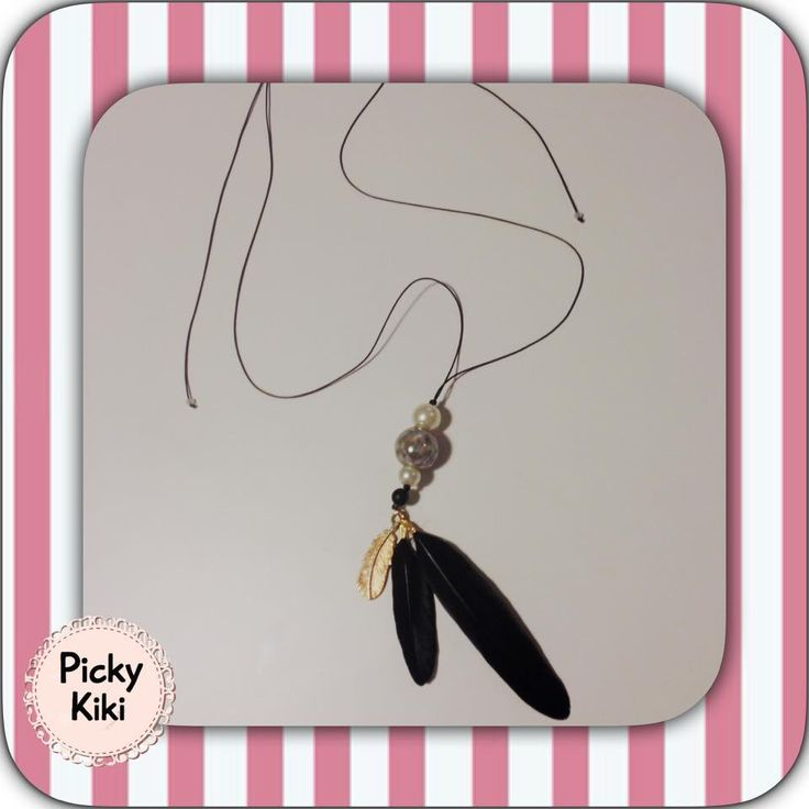 Handmade long necklace with adjustable clasp, macrame knitting, gray porcelain bead, pearls, black feathers and a small gold decorative feather | Fall-Winter Collection 2015-'16 | Picky Kiki