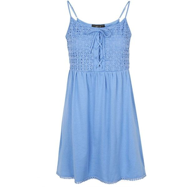 TOPSHOP PETITE Crochet Lace Sundress ($13) ❤ liked on Polyvore featuring dresses, vestidos, blue, petite, petite sundresses, petite cotton dresses, petite dresses, blue dresses and petite sun dresses