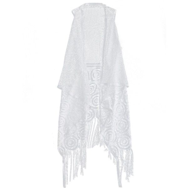Fringed Open Front Beach Cover Up White (1,420 INR) ❤ liked on Polyvore featuring swimwear, cover-ups, white cover up swimwear, cover up beachwear, cover up swimwear, white swimwear and white cover ups