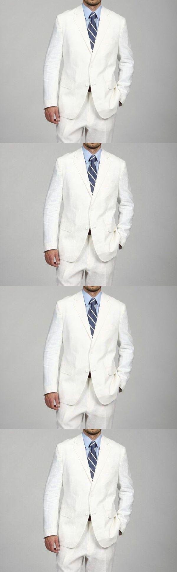 2016 New Arrival Custom Mens Suits White Wedding Suits For Men Notched Lapel Slim Fit Grooms Tuxedos 2 Pieces Business Men Suit
