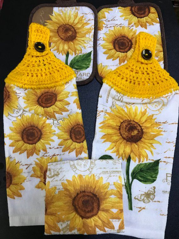 Sunflowers Kitchen Gift Set 2 Crochet Top Towels 2 Matching