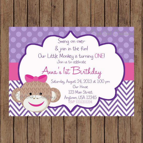 Hey, I found this really awesome Etsy listing at https://www.etsy.com/listing/175627431/sock-monkey-girl-birthday-invitation