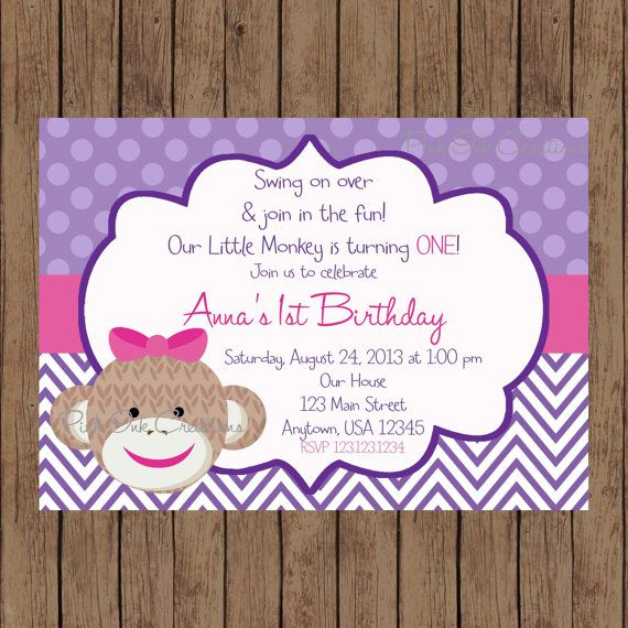 Hey, I found this really awesome Etsy listing at https://www.etsy.com/listing/175627431/sock-monkey-girl-birthday-invitation
