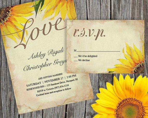 Rustic Sunflower Wedding Invitation Set  PDF Digital от VGInvites