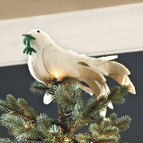 Felt Dove Tree Topper ~ I think this would be a nice dove for Godly Play