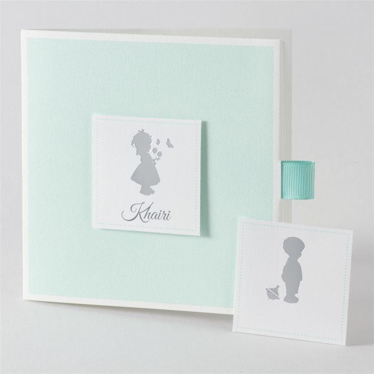 Geboortekaartje in mintkleur met silhouette meisje of jongen