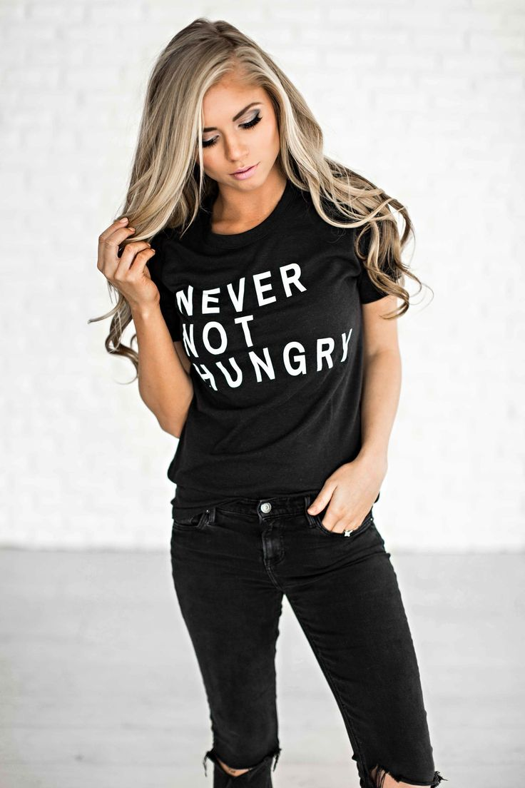 graphic tee, never not hungry, graphic tee, funny tee, blonde, style, hair, fashion, ootd, shop jessakae