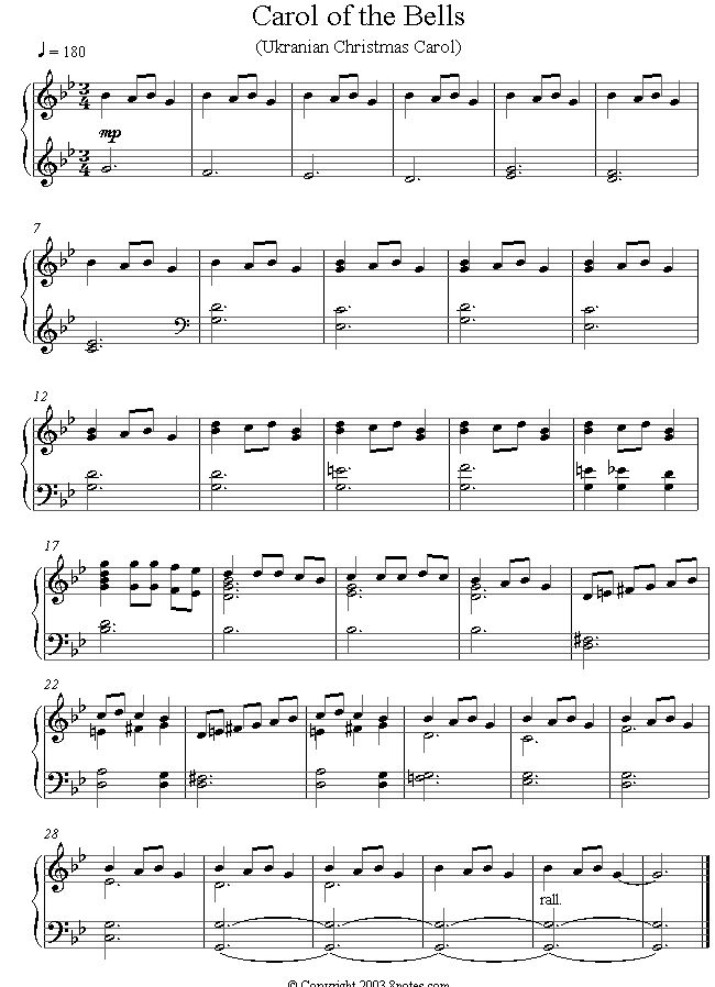 carol of the bells sheet music for piano sheet music. Black Bedroom Furniture Sets. Home Design Ideas